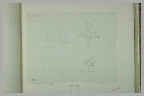 Cortone : plan ; croix ; tombeau étrusque