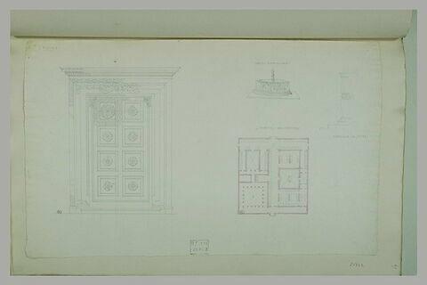 Lucques : porte ; fonds baptismaux ; plan ; fragment de sculpture