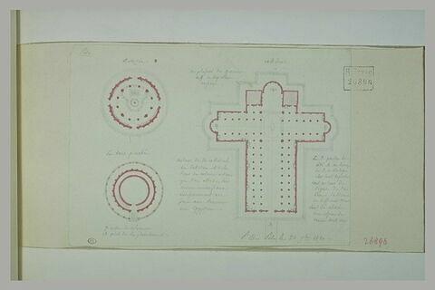 Pise : plans de la cathédrale, du baptistère et de la tour penchée et notes