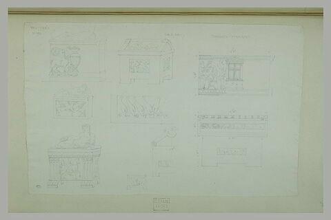 Volterra : neuf études de tombeaux étrusques ou de fragments du musée