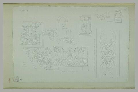 Volterra : frises, anse, bronze, bas relief et fragment de soffite du musée
