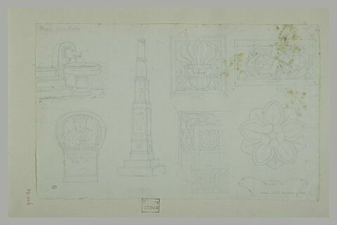 Fontaine : stèle ; obélisque, et éléments décoratifs