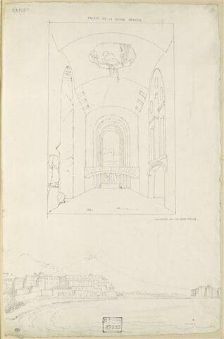 Naples : vestibule du palais de la reine Jeanne; Naples : vue avec le Vésuve
