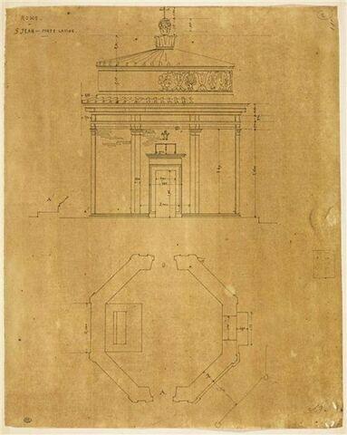 Façade et plan de saint Jean, la Porte latine