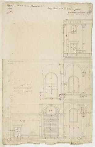 Coupe de la cour, sur la longueur, palais de la Chancellerie, Rome