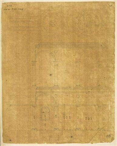 Etude des arcades et deux médaillons, Palazzo Doria, Rome