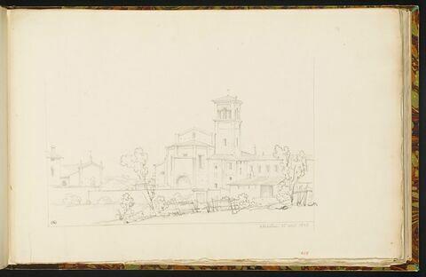 Eglise, une chapelle et des maisons à gauche, à Alexandrie