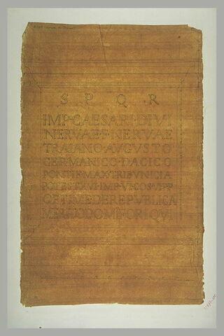 Rome : inscription du Forum de Trajan