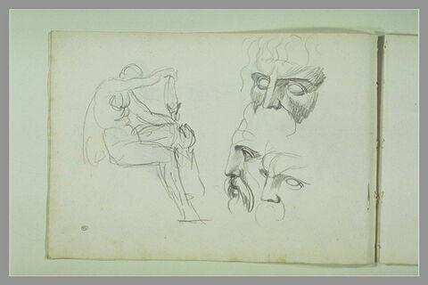 Figure assise ; trois études de visage d'homme barbu (Jupiter ?)