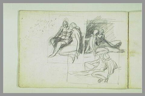 Trois études d'un couple assis : Vénus et Adonis