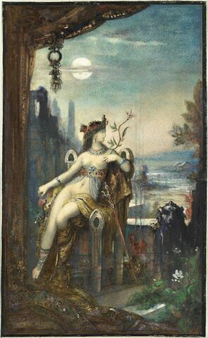 Cléopâtre, assise, demi nue, de face sur un trône très élevé