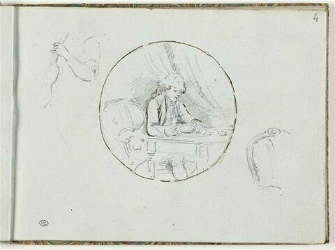 Bras et main tenant un violon ; jeune gentilhomme assis à une table ; chaise