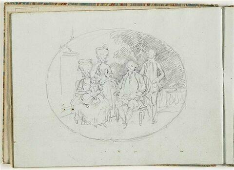 Portrait d'une famille en costumes de l'époque de Louis XVI