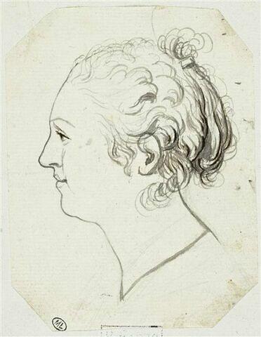 Tête de femme, de profil vers la gauche