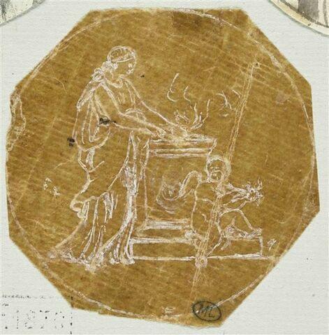 Scène antique : femme allumant le feu sur un autel