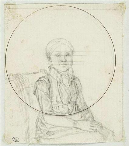 Portrait d'une jeune fille, assise, de trois quarts vers la droite