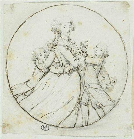 Portrait d'une jeune femme entourée de ses fils
