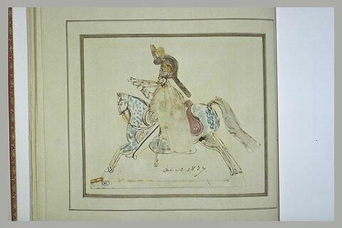 Deux cavaliers au galop vers la gauche