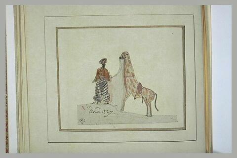 Homme en costume orientale promenant une girafe
