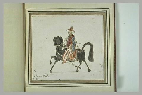 Chef chinois à cheval tourné vers la gauche