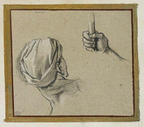 Tête tournée vers la droite et bras droit tenant un bâton