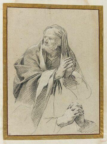 Homme barbu, drapé, joignant les mains