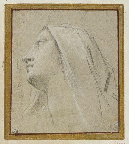 Tête de femme, un voile sur la tête, tournée vers la gauche