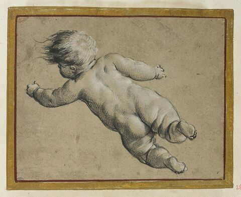 Enfant nu volant, vu de dos, vers la gauche