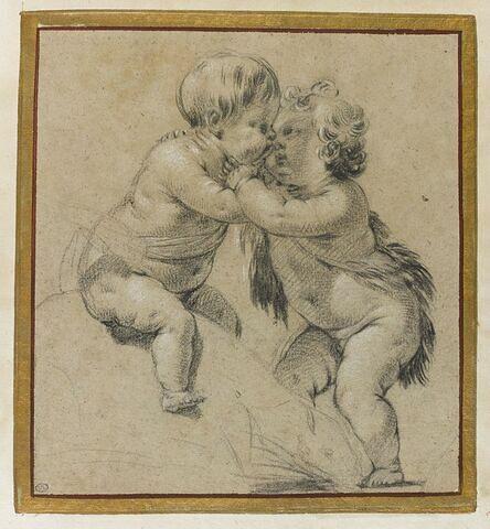Deux enfants nus s'embrassant