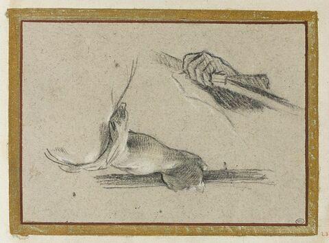 Deux bras tenant des bâton
