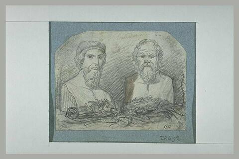 Deux bustes antiques : Socrate et Platon