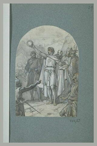 Croisé au milieu de guerriers et d'hommes d'église brandissant une couronne
