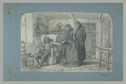 Une dame et un prêtre visitant un paysan breton affligé
