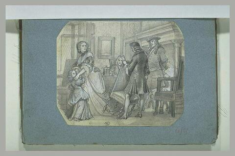 Scène époque Louis XIV : une femme et sa fille effrayées dans un bureau
