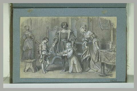 Scène époque Renaissance : famille dans un intérieur