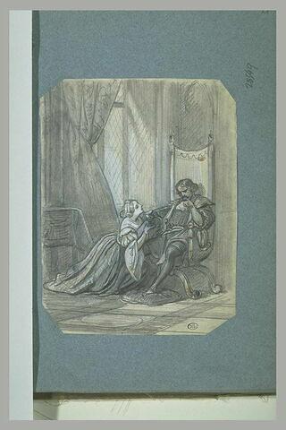 Femme à genoux implorant un homme assis