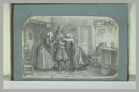 Une femme intercédant auprès d'un paysan breton qu'une jeune fille supplie