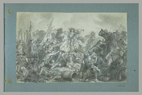 La bataille de Rocroi : le prince de Condé à cheval au milieu de la mélée