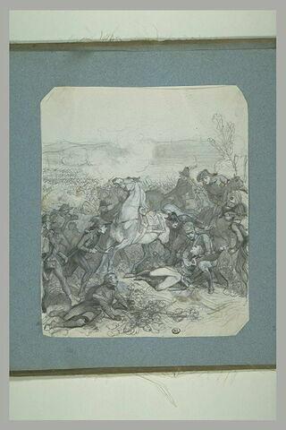 Général blessé tombant de son cheval, dans le fond une bataille