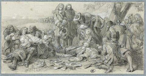 Soldats entourant un militaire mort, étendu sur le sol : mort de Turenne (?)