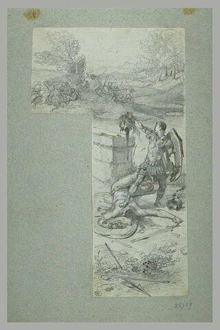 Guerrier romain décapitant un ennemi vaincu