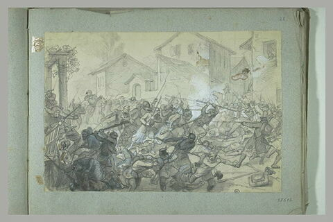 Combat entre zouaves français et soldats autrichiens : bataille de Palestro?