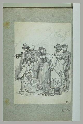 Groupe de cinq personnages avec costumes de différentes parties de l'Europe