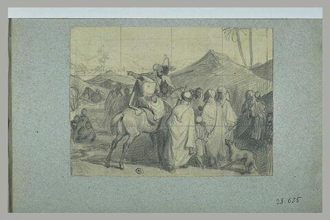 Chef arabe haranguant plusieurs hommes