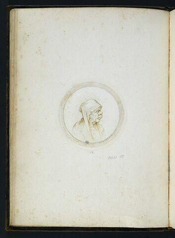 Vieille femme en buste de profil à droite, coiffée d'un voile