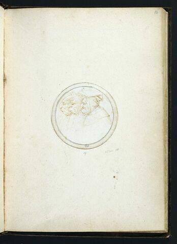 Les trois vieux poètes de profil à gauche (Boccace, Pétrarque, Dante ?)