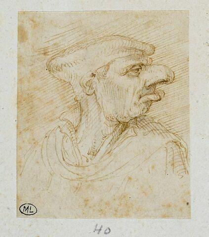 Homme en buste de profil à droite, coiffé d'un béret
