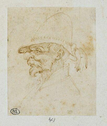 Tête d'homme de profil à gauche, coiffé d'un chapeau à pompon