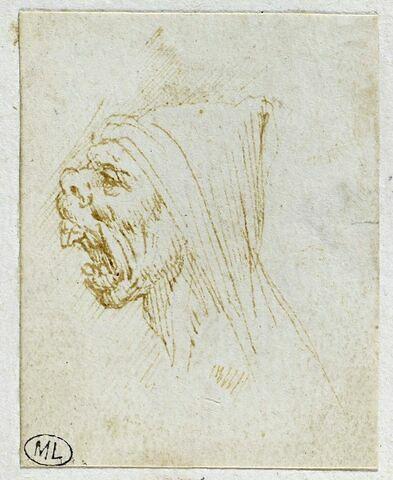 Tête d'homme de profil à gauche, la bouche ouverte