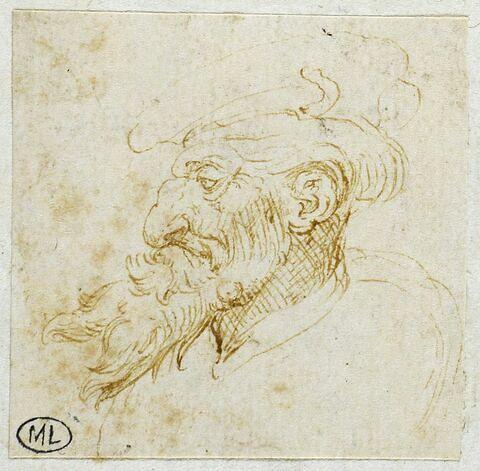 Homme de profil à gauche, avec un chapeau et une longue barbe